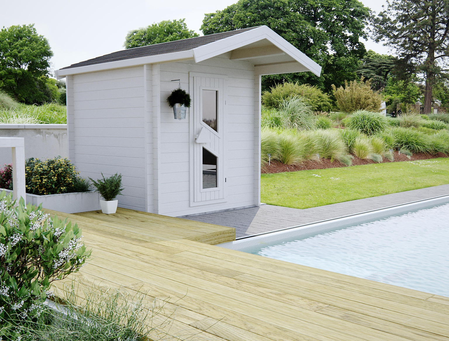 BIOLA 45 mm 1,95 m x 1,95 m Biancasa sauna Finlandais